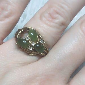 Stamped Hallmark Signed Jade Ring size 7